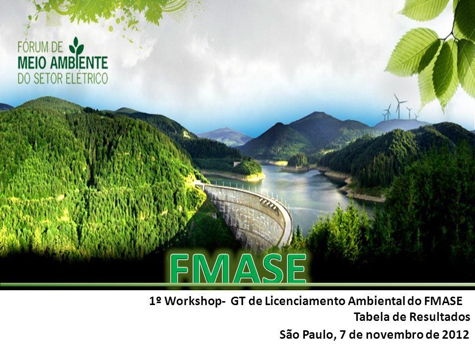 1º Workshop- GT de Licenciamento Ambiental do FMASE Tabela de Resultados São Paulo, 7 de novembro de 2012