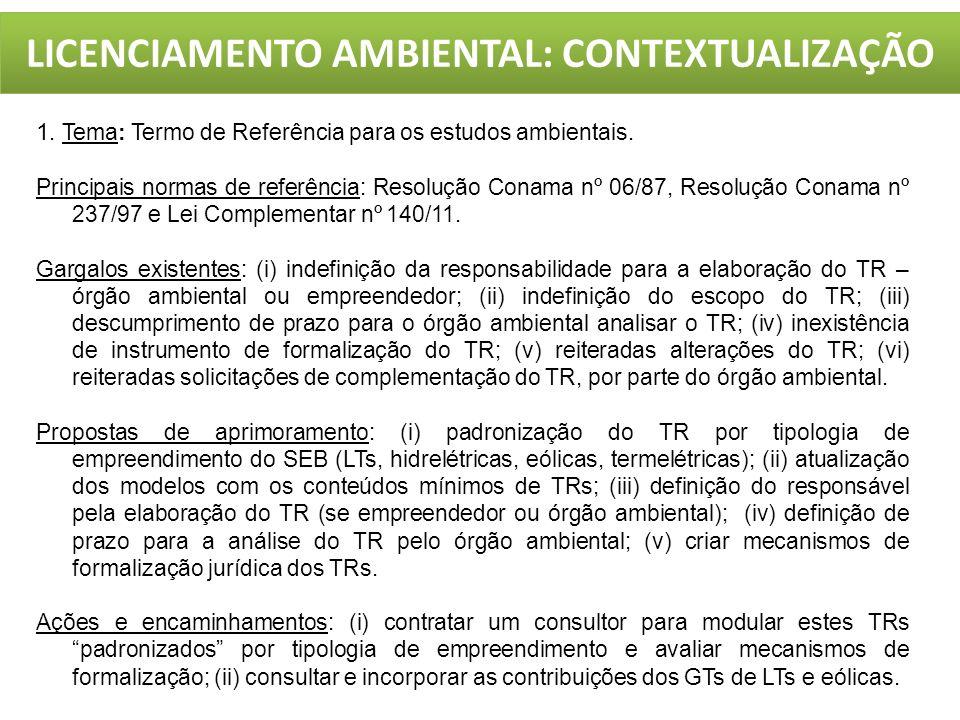 LICENCIAMENTO AMBIENTAL: CONTEXTUALIZAÇÃO 1. Tema: Termo de Referência para os estudos ambientais. Principais normas de referência: Resolução Conama n
