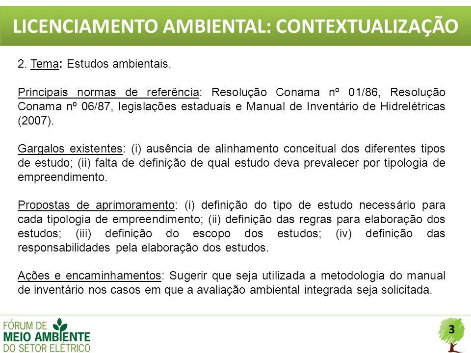 3 LICENCIAMENTO AMBIENTAL: CONTEXTUALIZAÇÃO 2. Tema: Estudos ambientais. Principais normas de referência: Resolução Conama nº 01/86, Resolução Conama