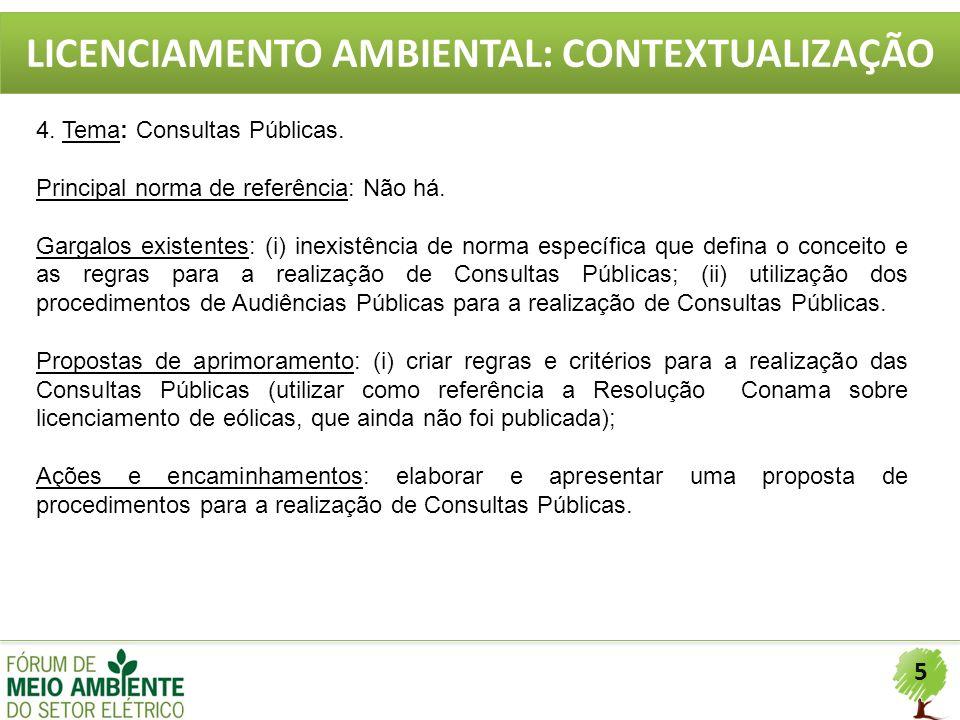 5 LICENCIAMENTO AMBIENTAL: CONTEXTUALIZAÇÃO 4. Tema: Consultas Públicas. Principal norma de referência: Não há. Gargalos existentes: (i) inexistência