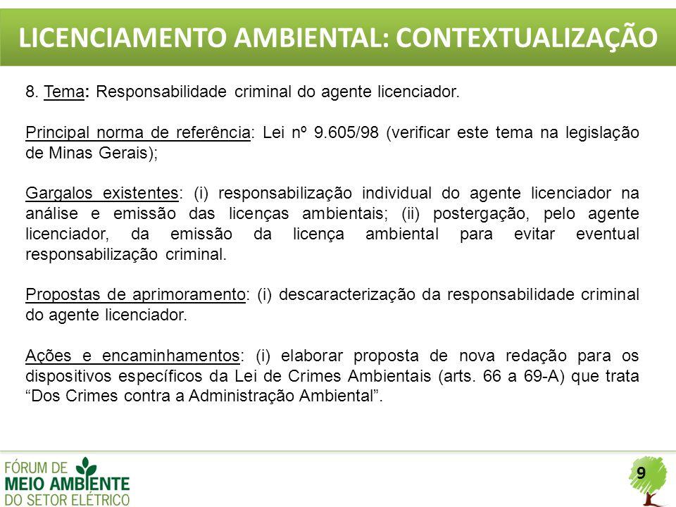 9 LICENCIAMENTO AMBIENTAL: CONTEXTUALIZAÇÃO 8. Tema: Responsabilidade criminal do agente licenciador. Principal norma de referência: Lei nº 9.605/98 (