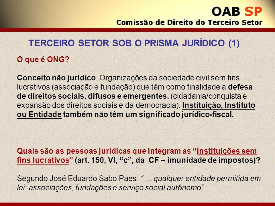 O que é ONG? Conceito não jurídico. Organizações da sociedade civil sem fins lucrativos (associação e fundação) que têm como finalidade a defesa de di