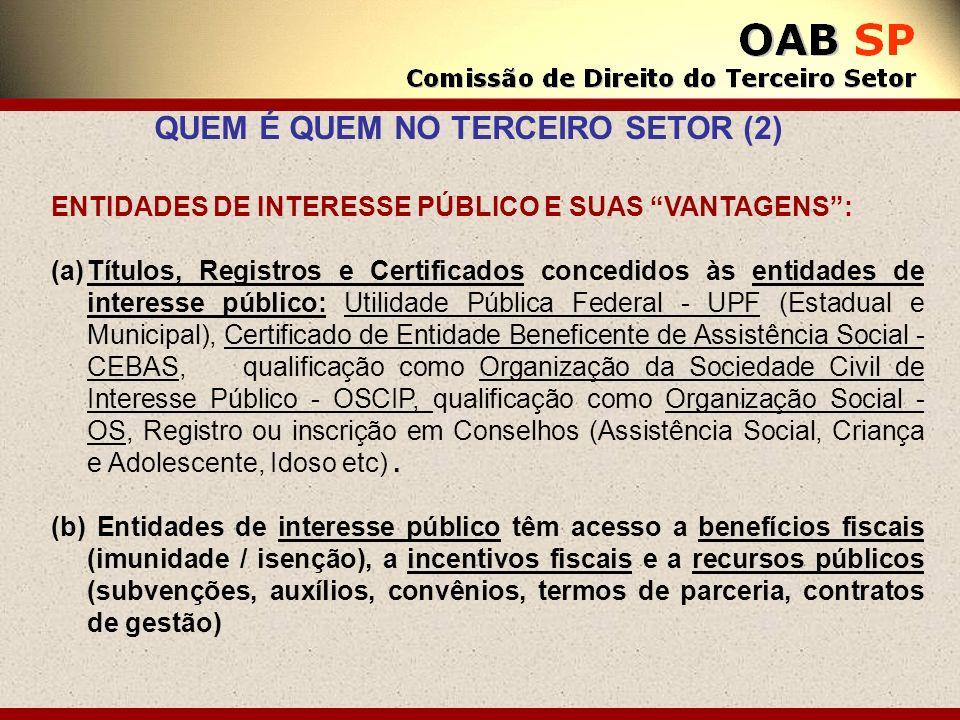 ENTIDADES DE INTERESSE PÚBLICO E SUAS VANTAGENS: (a)Títulos, Registros e Certificados concedidos às entidades de interesse público: Utilidade Pública