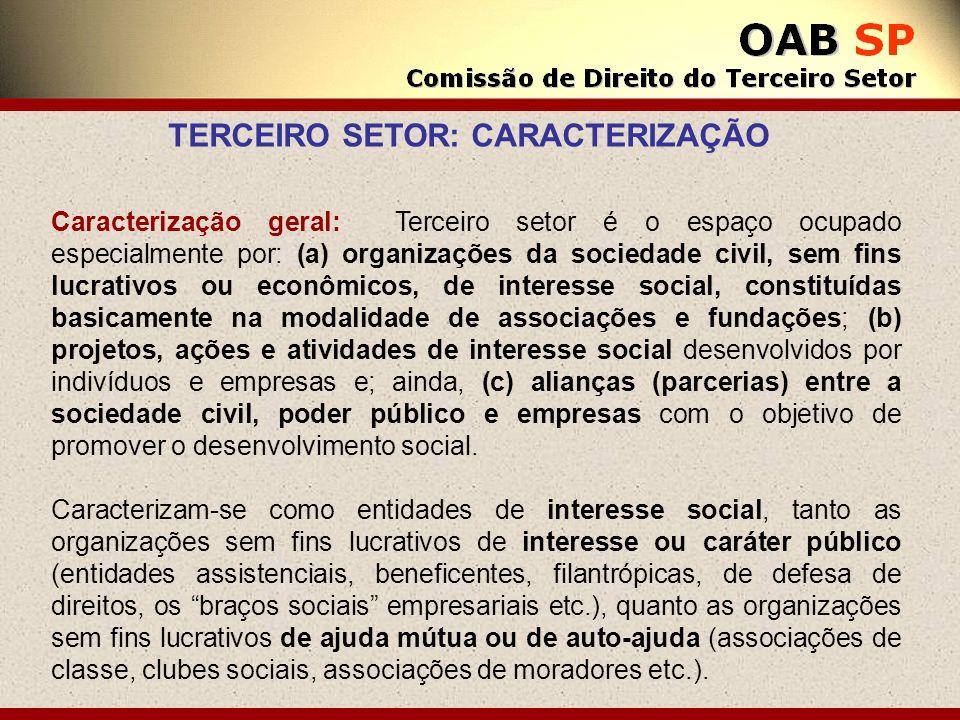 Caracterização geral: Terceiro setor é o espaço ocupado especialmente por: (a) organizações da sociedade civil, sem fins lucrativos ou econômicos, de