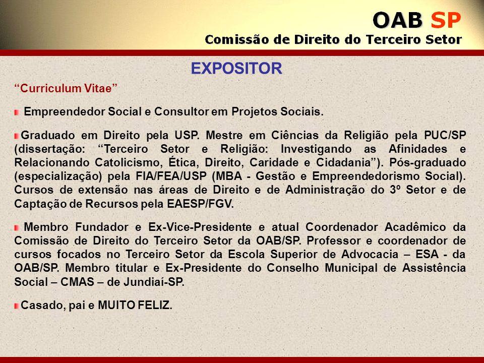 Curriculum Vitae Empreendedor Social e Consultor em Projetos Sociais. Graduado em Direito pela USP. Mestre em Ciências da Religião pela PUC/SP (disser