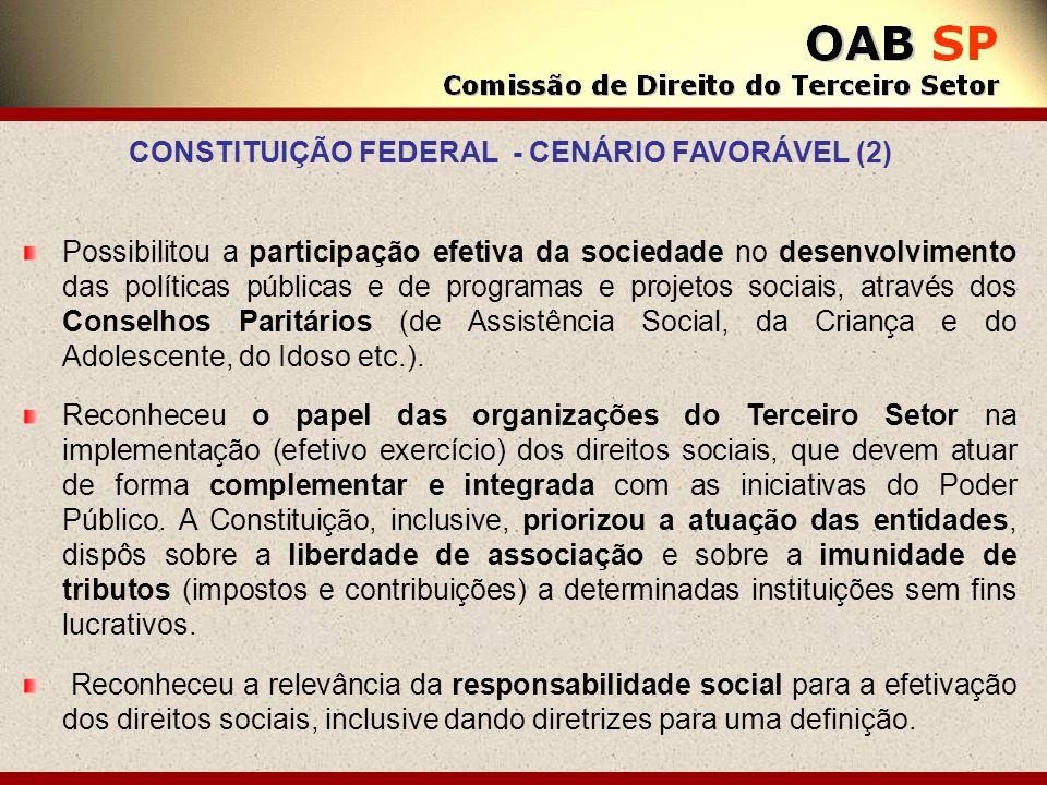 Possibilitou a participação efetiva da sociedade no desenvolvimento das políticas públicas e de programas e projetos sociais, através dos Conselhos Pa