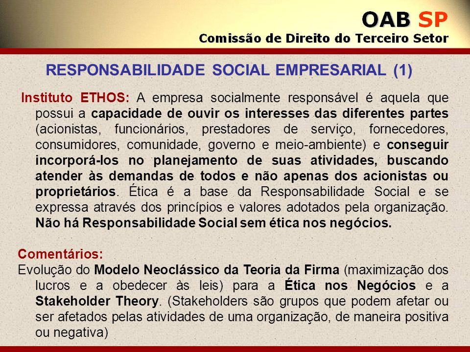 Instituto ETHOS: A empresa socialmente responsável é aquela que possui a capacidade de ouvir os interesses das diferentes partes (acionistas, funcioná