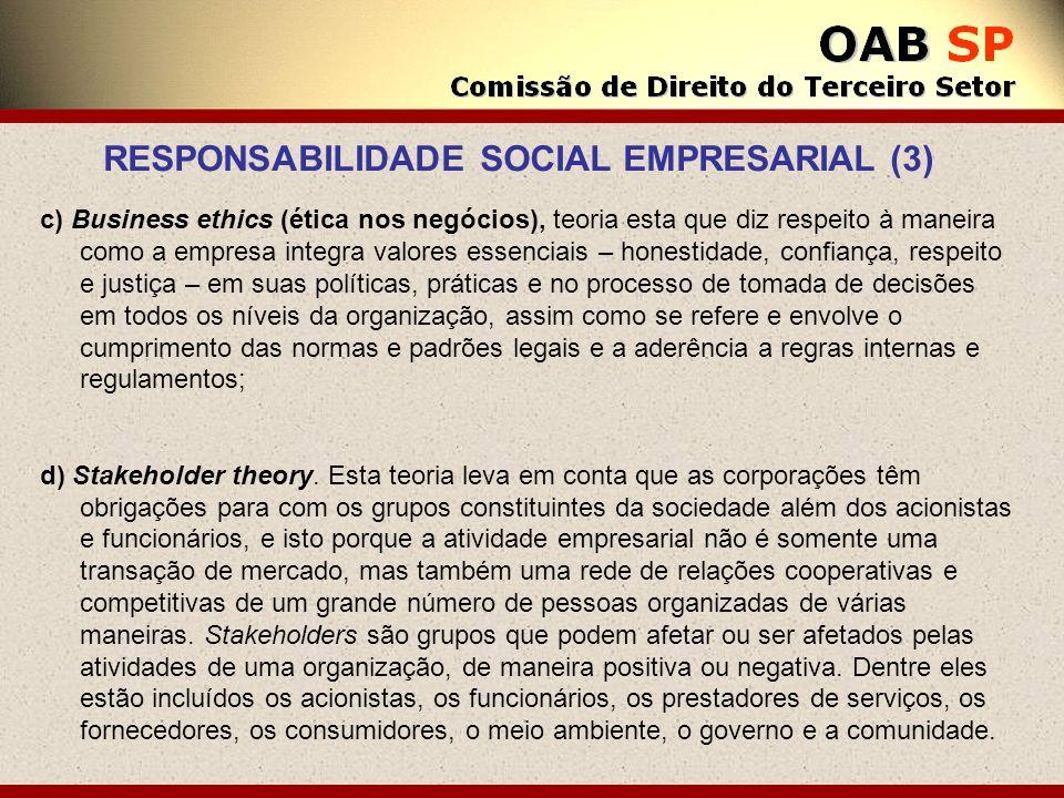 c) Business ethics (ética nos negócios), teoria esta que diz respeito à maneira como a empresa integra valores essenciais – honestidade, confiança, re