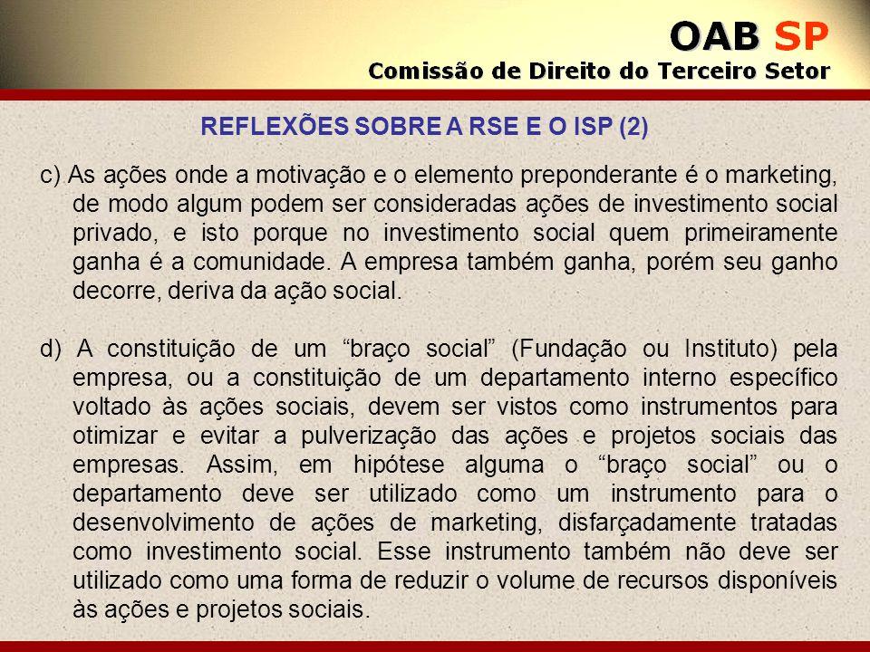c) As ações onde a motivação e o elemento preponderante é o marketing, de modo algum podem ser consideradas ações de investimento social privado, e is