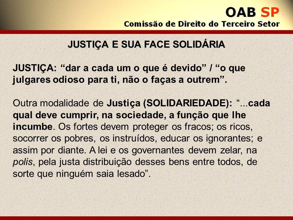 JUSTIÇA E SUA FACE SOLIDÁRIA JUSTIÇA: dar a cada um o que é devido / o que julgares odioso para ti, não o faças a outrem. Outra modalidade de Justiça