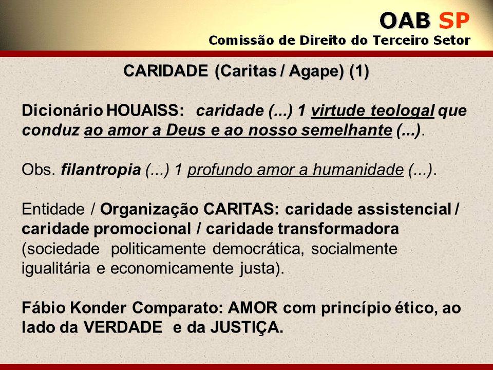 CARIDADE (Caritas / Agape) (1) Dicionário HOUAISS: caridade (...) 1 virtude teologal que conduz ao amor a Deus e ao nosso semelhante (...). Obs. filan
