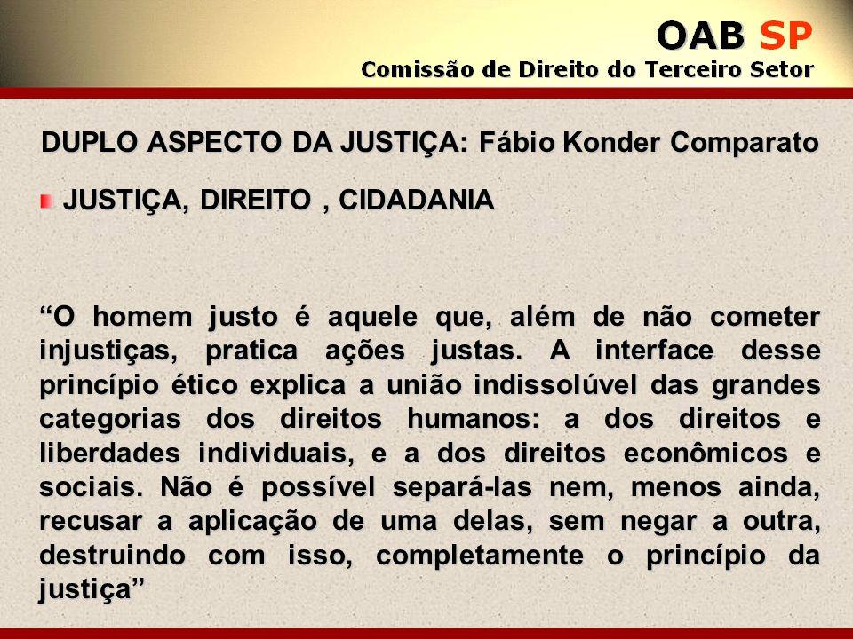 DUPLO ASPECTO DA JUSTIÇA: Fábio Konder Comparato JUSTIÇA, DIREITO, CIDADANIA JUSTIÇA, DIREITO, CIDADANIA O homem justo é aquele que, além de não comet