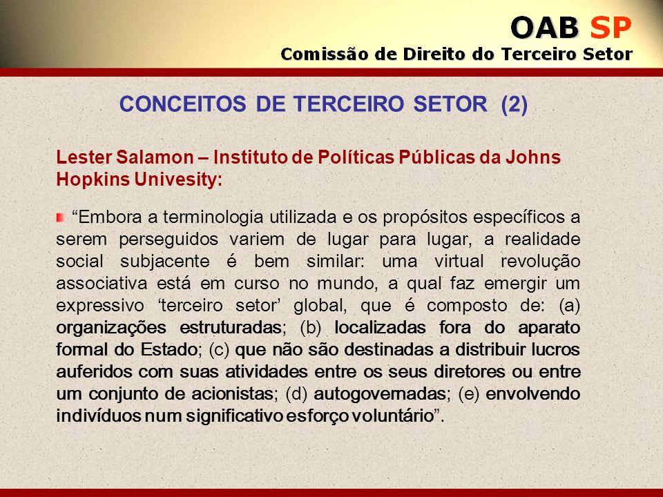Lester Salamon – Instituto de Políticas Públicas da Johns Hopkins Univesity: Embora a terminologia utilizada e os propósitos específicos a serem perse