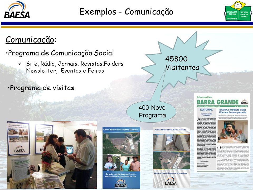 Comunicação: Programa de Comunicação Social Site, Rádio, Jornais, Revistas,Folders Newsletter, Eventos e Feiras 45800 Visitantes 400 Novo Programa Exe