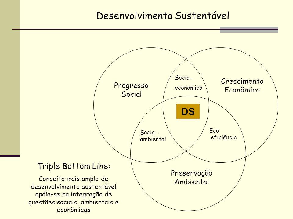 Crescimento Econômico Progresso Social Preservação Ambiental Socio- ambiental Eco eficiência Socio- economico DS Desenvolvimento Sustentável Triple Bo