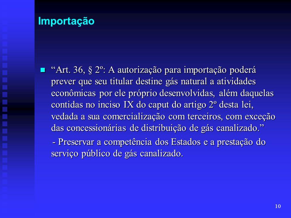 10 Importação Art. 36, § 2º: A autorização para importação poderá prever que seu titular destine gás natural a atividades econômicas por ele próprio d