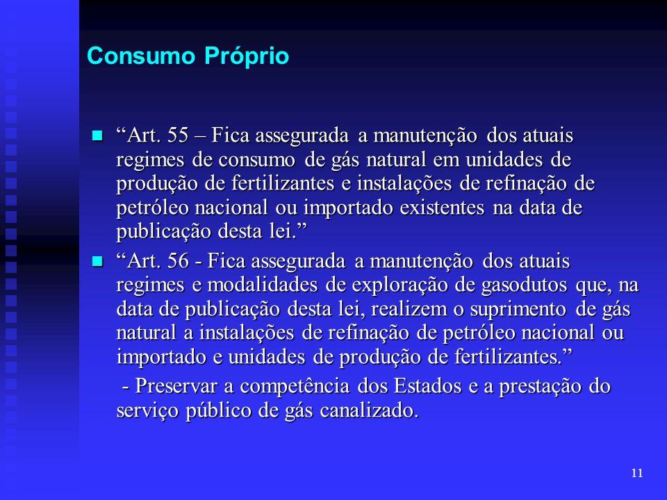 11 Consumo Próprio Art. 55 – Fica assegurada a manutenção dos atuais regimes de consumo de gás natural em unidades de produção de fertilizantes e inst