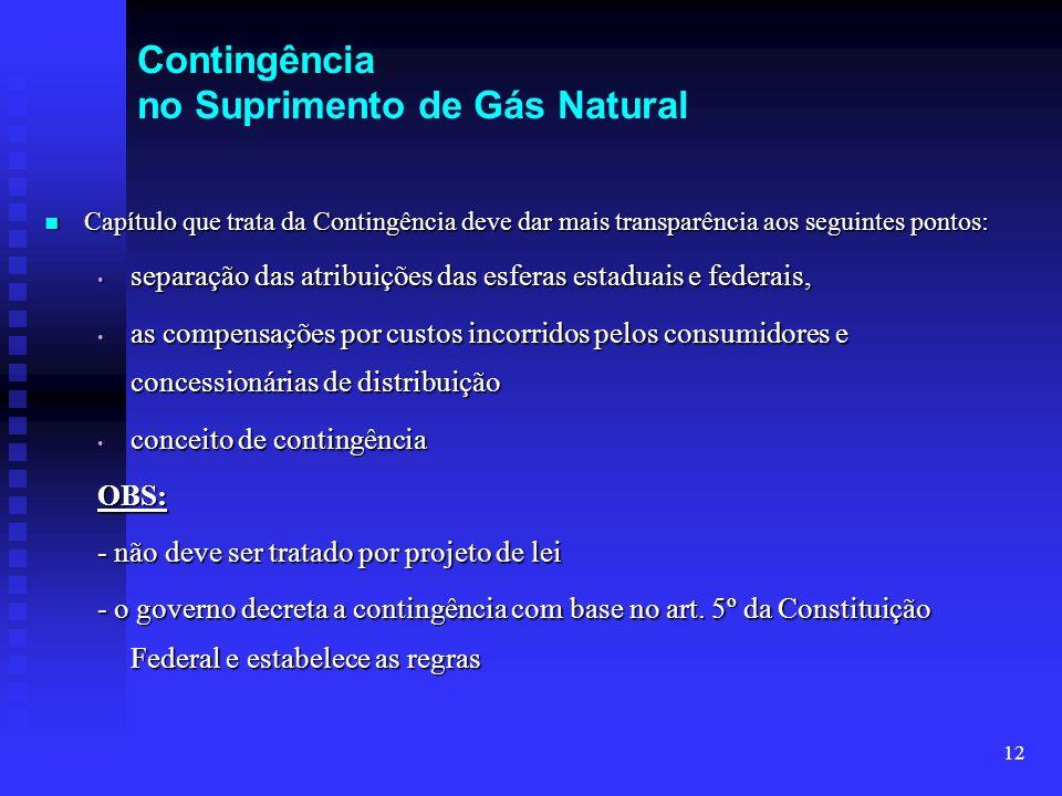 12 Contingência no Suprimento de Gás Natural Capítulo que trata da Contingência deve dar mais transparência aos seguintes pontos: Capítulo que trata d