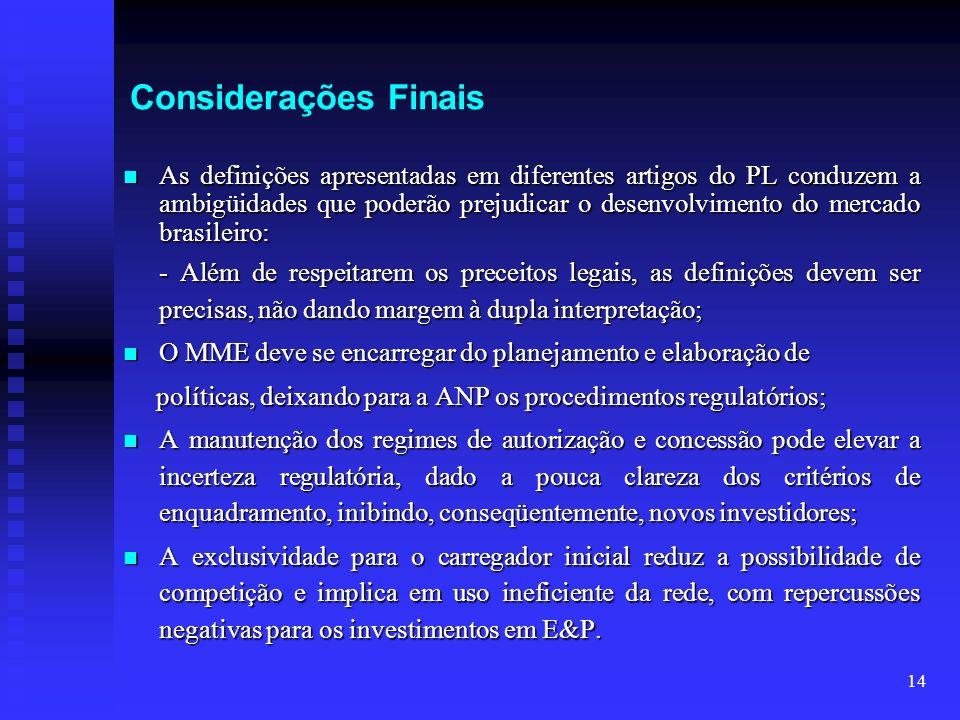 14 Considerações Finais As definições apresentadas em diferentes artigos do PL conduzem a ambigüidades que poderão prejudicar o desenvolvimento do mer