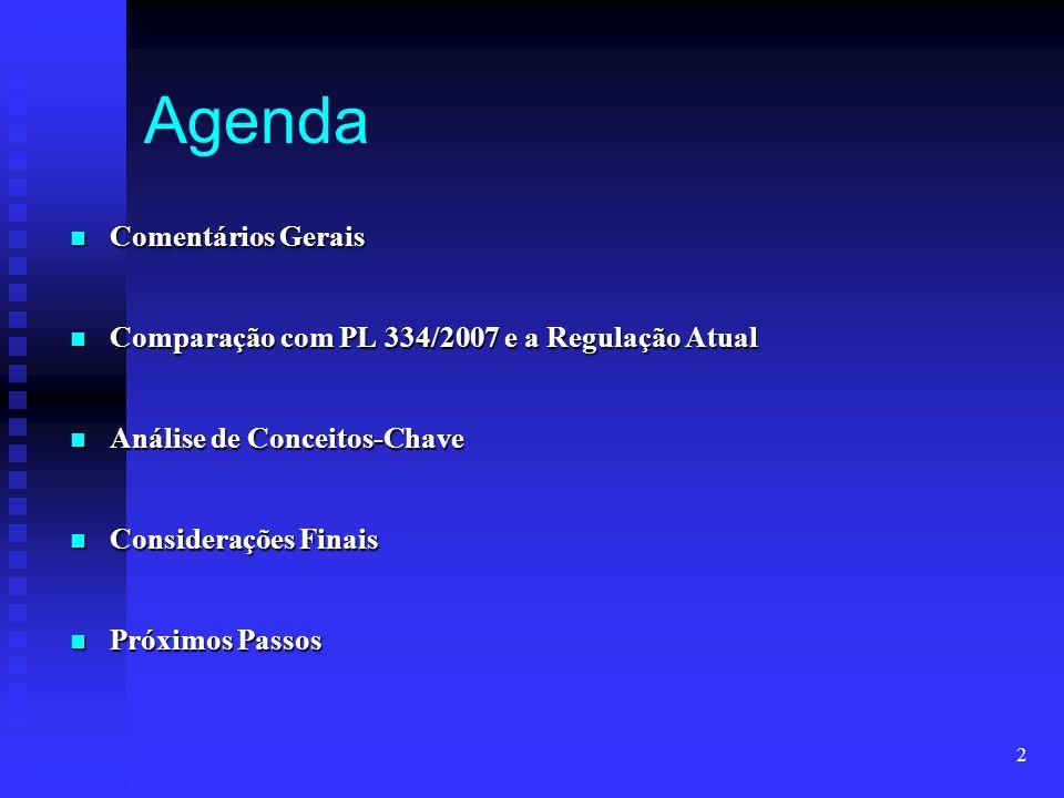 2 Agenda Comentários Gerais Comentários Gerais Comparação com PL 334/2007 e a Regulação Atual Comparação com PL 334/2007 e a Regulação Atual Análise d