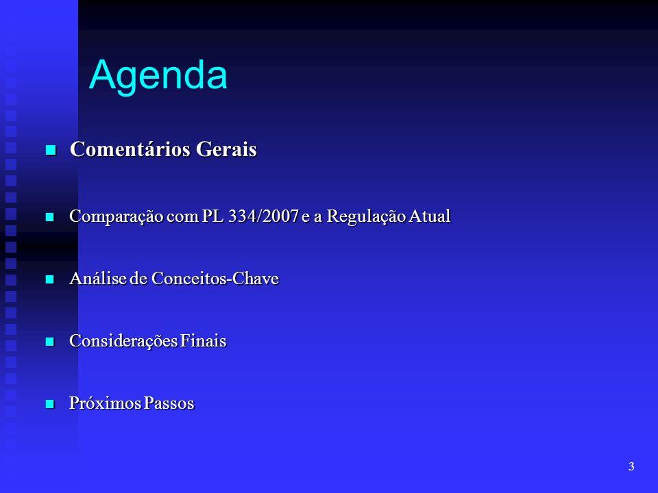 3 Agenda Comentários Gerais Comentários Gerais Comparação com PL 334/2007 e a Regulação Atual Comparação com PL 334/2007 e a Regulação Atual Análise d