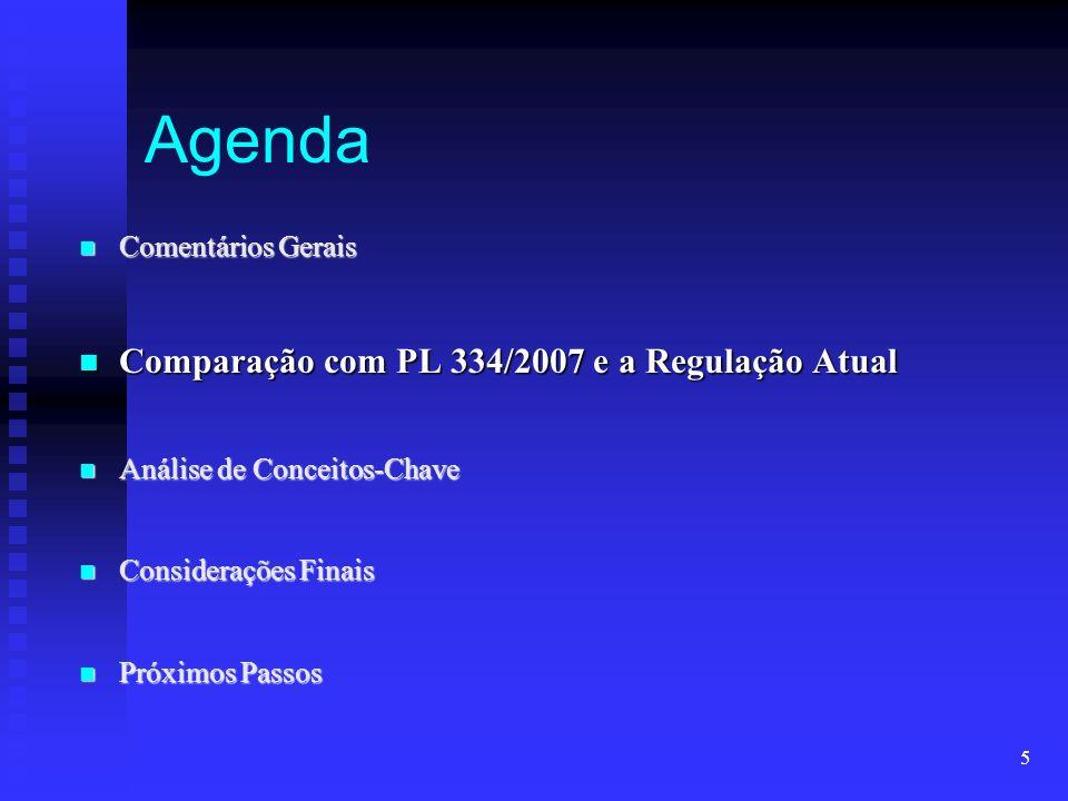 5 Agenda Comentários Gerais Comentários Gerais Comparação com PL 334/2007 e a Regulação Atual Comparação com PL 334/2007 e a Regulação Atual Análise d
