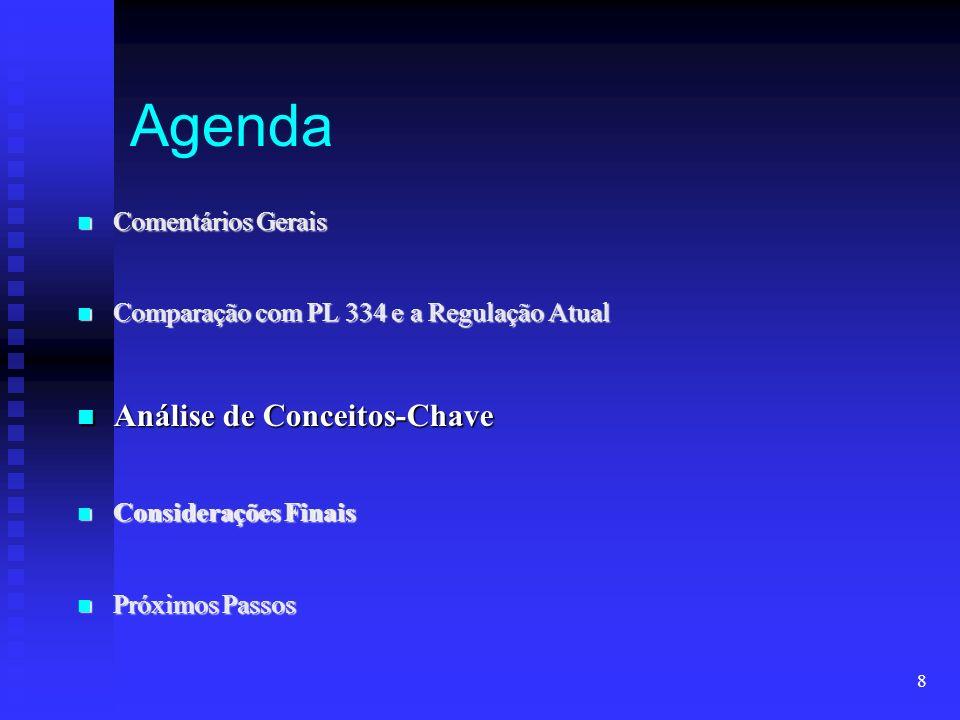 8 Agenda Comentários Gerais Comentários Gerais Comparação com PL 334 e a Regulação Atual Comparação com PL 334 e a Regulação Atual Análise de Conceito