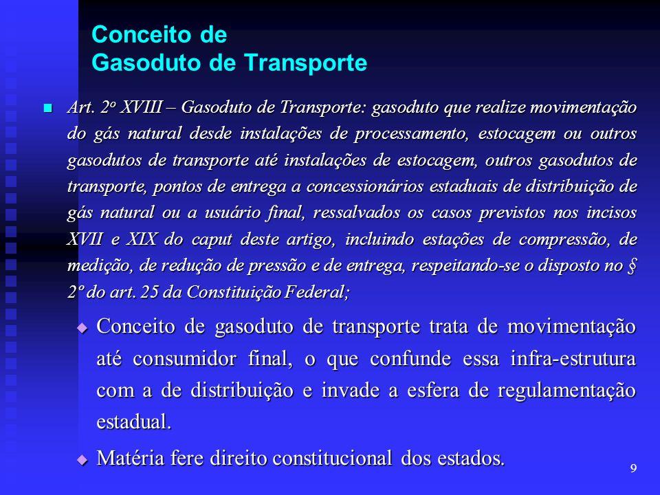 9 Conceito de Gasoduto de Transporte Art. 2 o XVIII – Gasoduto de Transporte: gasoduto que realize movimentação do gás natural desde instalações de pr