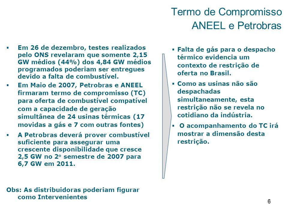 6 Termo de Compromisso ANEEL e Petrobras Em 26 de dezembro, testes realizados pelo ONS revelaram que somente 2,15 GW médios (44%) dos 4,84 GW médios programados poderiam ser entregues devido a falta de combustível.