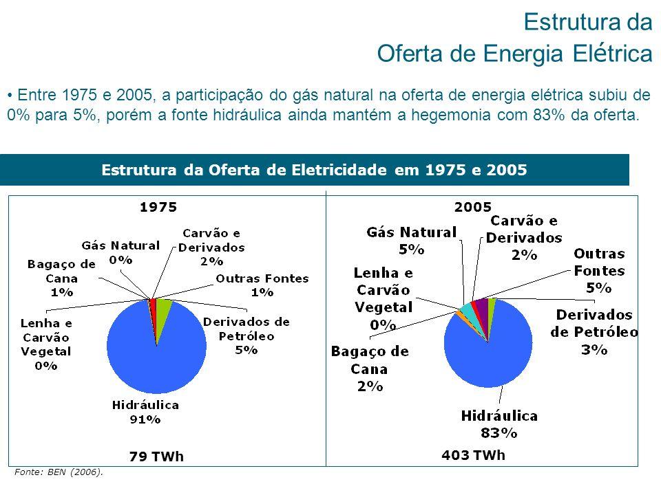 7 Estrutura da Oferta de Energia El é trica Entre 1975 e 2005, a participação do gás natural na oferta de energia elétrica subiu de 0% para 5%, porém