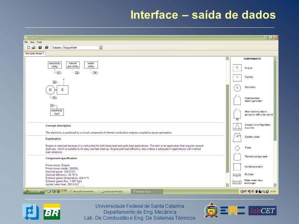 Universidade Federal de Santa Catarina Departamento de Eng. Mecânica Lab. De Combustão e Eng. De Sistemas Térmicos Interface – saída de dados