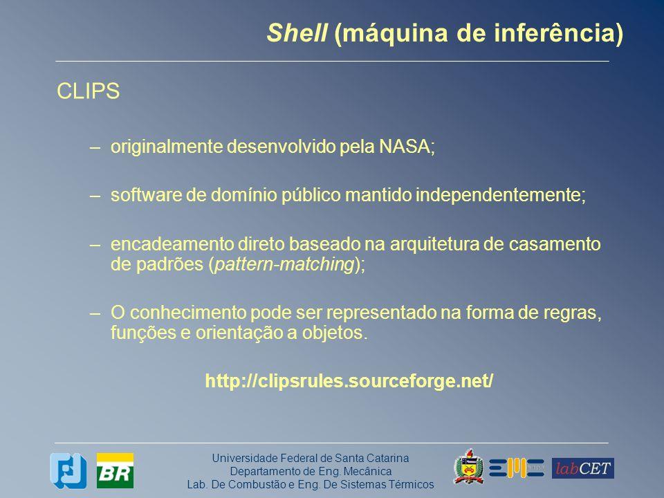 Universidade Federal de Santa Catarina Departamento de Eng. Mecânica Lab. De Combustão e Eng. De Sistemas Térmicos Shell (máquina de inferência) CLIPS
