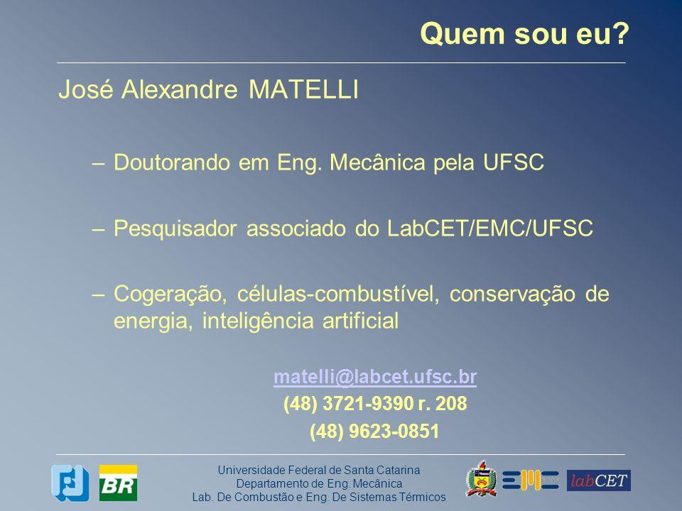 Universidade Federal de Santa Catarina Departamento de Eng. Mecânica Lab. De Combustão e Eng. De Sistemas Térmicos Quem sou eu? José Alexandre MATELLI