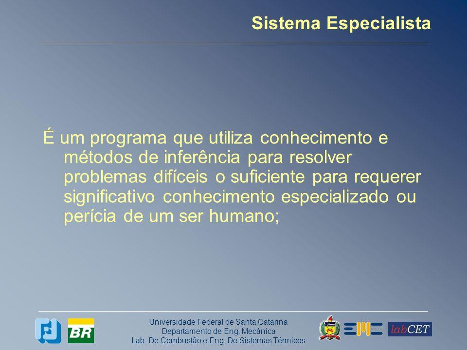 Universidade Federal de Santa Catarina Departamento de Eng. Mecânica Lab. De Combustão e Eng. De Sistemas Térmicos Sistema Especialista É um programa