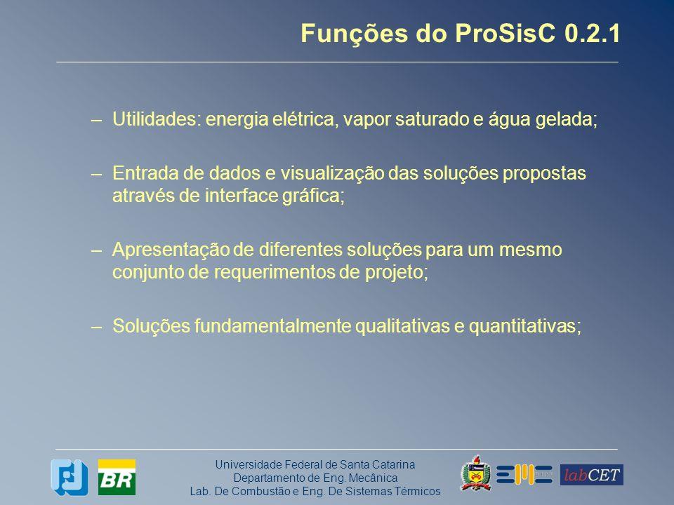 Universidade Federal de Santa Catarina Departamento de Eng. Mecânica Lab. De Combustão e Eng. De Sistemas Térmicos Funções do ProSisC 0.2.1 –Utilidade