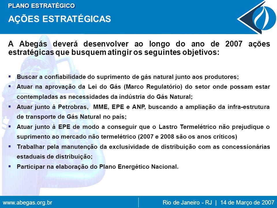 www.abegas.org.brRio de Janeiro - RJ | 14 de Março de 2007 PLANO ESTRATÉGICO AÇÕES ESTRATÉGICAS Buscar a confiabilidade do suprimento de gás natural junto aos produtores; Atuar na aprovação da Lei do Gás (Marco Regulatório) do setor onde possam estar contempladas as necessidades da indústria do Gás Natural; Atuar junto à Petrobras, MME, EPE e ANP, buscando a ampliação da infra-estrutura de transporte de Gás Natural no país; Atuar junto à EPE de modo a conseguir que o Lastro Termelétrico não prejudique o suprimento ao mercado não termelétrico (2007 e 2008 são os anos críticos) Trabalhar pela manutenção da exclusividade de distribuição com as concessionárias estaduais de distribuição; Participar na elaboração do Plano Energético Nacional.