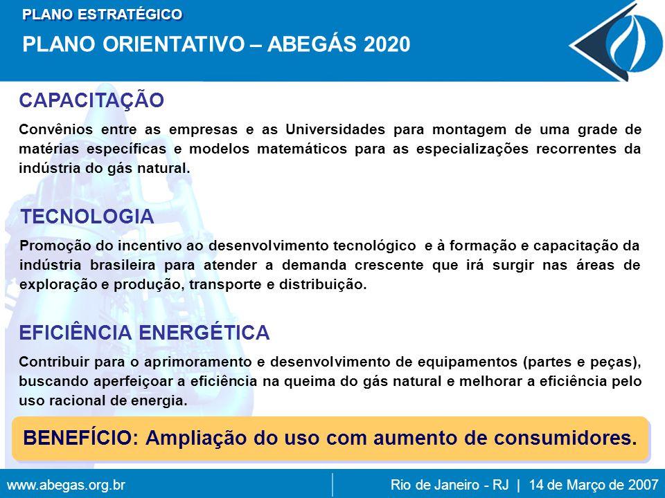 www.abegas.org.brRio de Janeiro - RJ | 14 de Março de 2007 CAPACITAÇÃO Convênios entre as empresas e as Universidades para montagem de uma grade de matérias específicas e modelos matemáticos para as especializações recorrentes da indústria do gás natural.