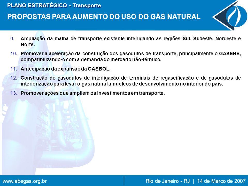 www.abegas.org.brRio de Janeiro - RJ | 14 de Março de 2007 9.Ampliação da malha de transporte existente interligando as regiões Sul, Sudeste, Nordeste e Norte.