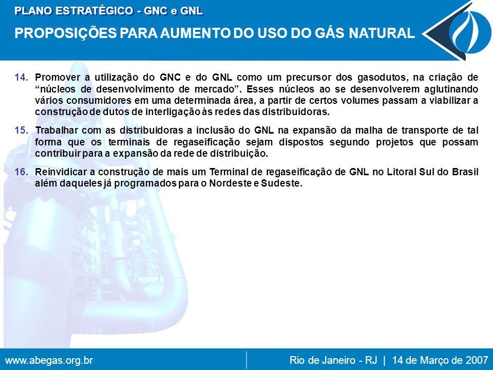 www.abegas.org.brRio de Janeiro - RJ | 14 de Março de 2007 14.Promover a utilização do GNC e do GNL como um precursor dos gasodutos, na criação de núcleos de desenvolvimento de mercado.