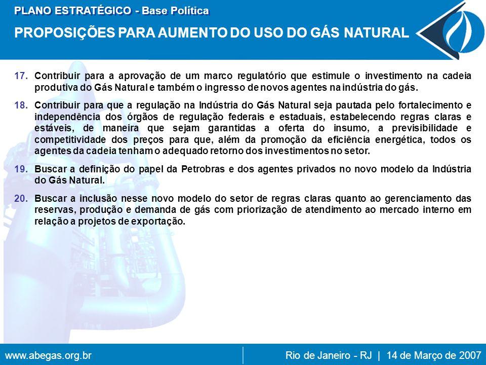 www.abegas.org.brRio de Janeiro - RJ | 14 de Março de 2007 17.Contribuir para a aprovação de um marco regulatório que estimule o investimento na cadeia produtiva do Gás Natural e também o ingresso de novos agentes na indústria do gás.