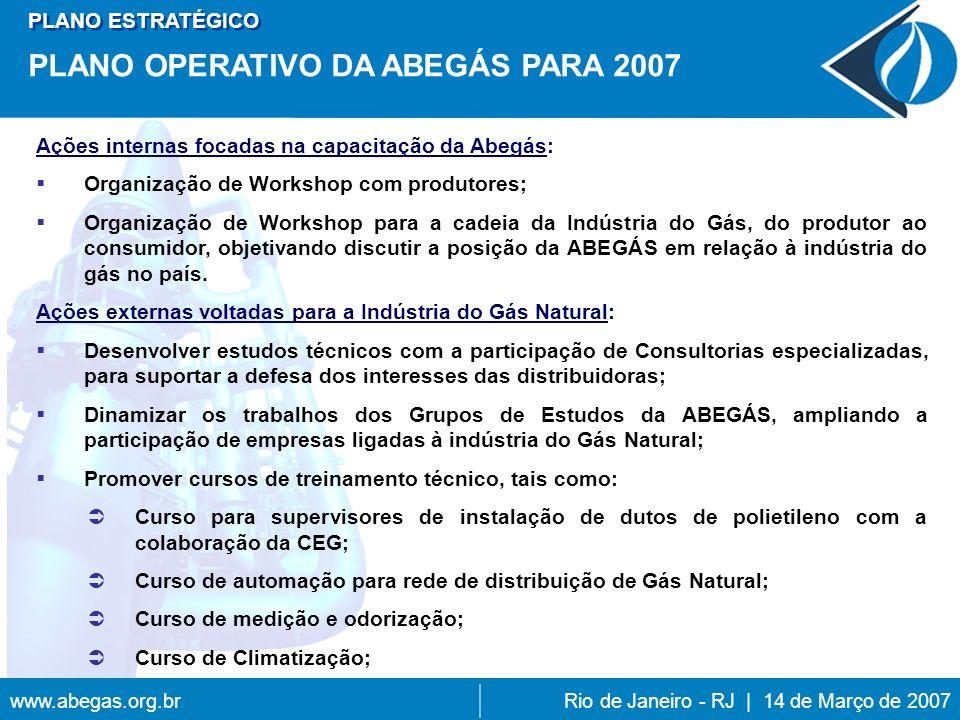 www.abegas.org.brRio de Janeiro - RJ | 14 de Março de 2007 Ações internas focadas na capacitação da Abegás: Organização de Workshop com produtores; Organização de Workshop para a cadeia da Indústria do Gás, do produtor ao consumidor, objetivando discutir a posição da ABEGÁS em relação à indústria do gás no país.