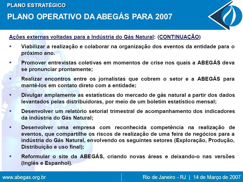 www.abegas.org.brRio de Janeiro - RJ | 14 de Março de 2007 Ações externas voltadas para a Indústria do Gás Natural: (CONTINUAÇÃO) Viabilizar a realização e colaborar na organização dos eventos da entidade para o próximo ano.