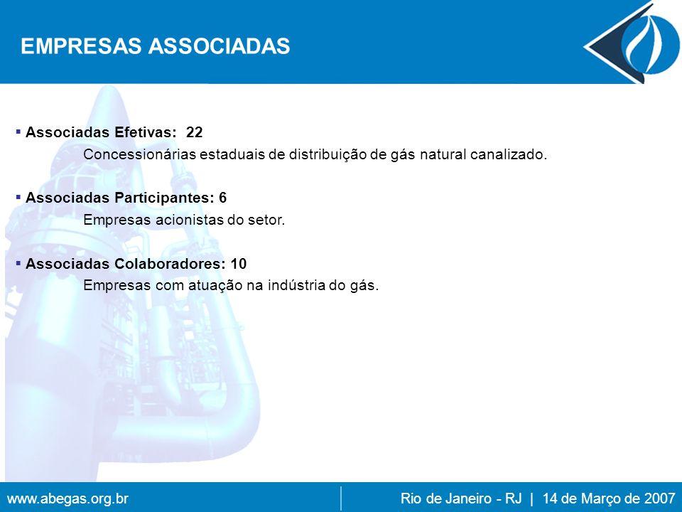www.abegas.org.brRio de Janeiro - RJ | 14 de Março de 2007 Associadas Efetivas: 22 Concessionárias estaduais de distribuição de gás natural canalizado.