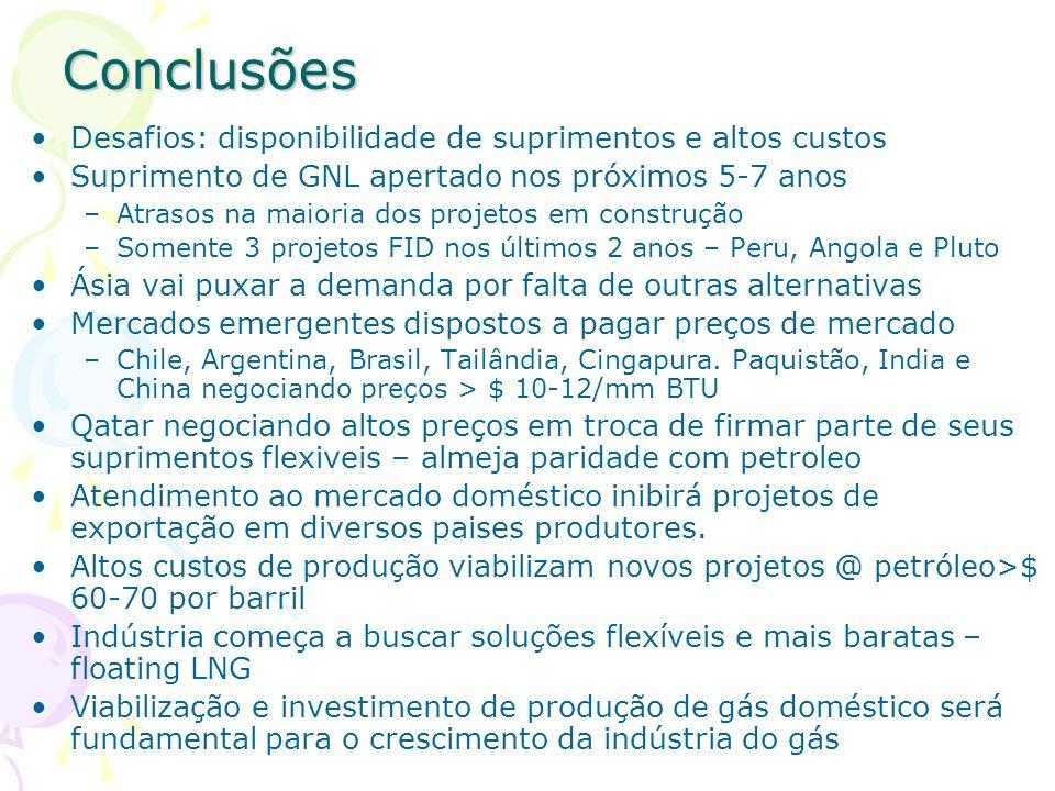 Conclusões Desafios: disponibilidade de suprimentos e altos custos Suprimento de GNL apertado nos próximos 5-7 anos –Atrasos na maioria dos projetos e