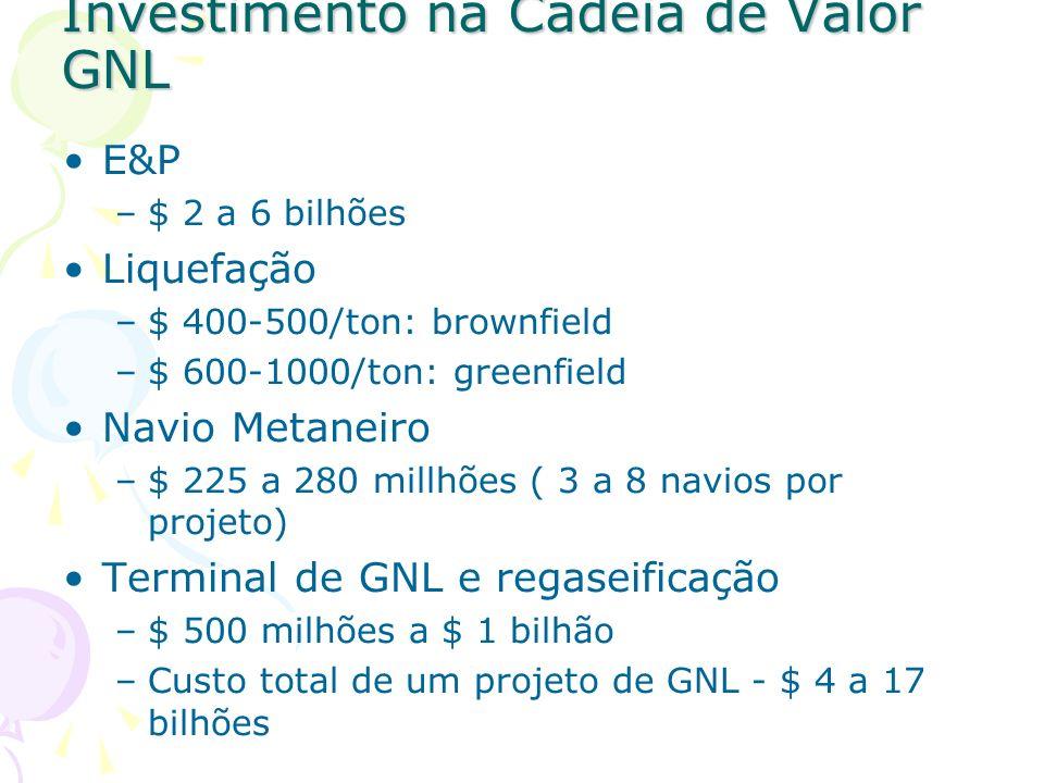 Investimento na Cadeia de Valor GNL E&P –$ 2 a 6 bilhões Liquefação –$ 400-500/ton: brownfield –$ 600-1000/ton: greenfield Navio Metaneiro –$ 225 a 28
