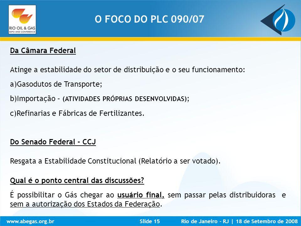 www.abegas.org.brRio de Janeiro - RJ   18 de Setembro de 2008Slide 15 Da Câmara Federal Atinge a estabilidade do setor de distribuição e o seu funcion
