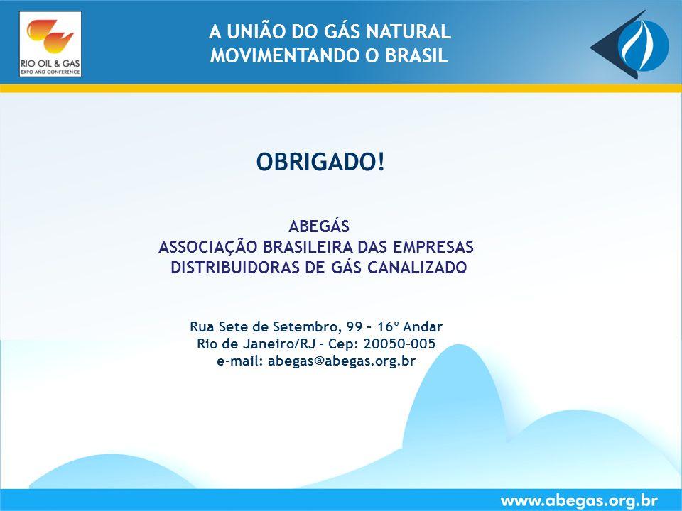 www.abegas.org.brRio de Janeiro - RJ   18 de Setembro de 2008Slide 20 A UNIÃO DO GÁS NATURAL MOVIMENTANDO O BRASIL OBRIGADO! Rua Sete de Setembro, 99