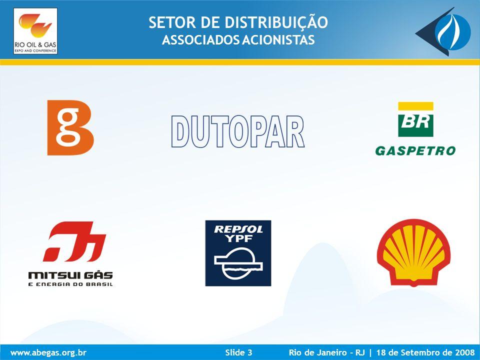 www.abegas.org.brRio de Janeiro - RJ | 18 de Setembro de 2008Slide 14 Fonte: Abegás MANUTENÇÃO ESTABILIDADE CONSTITUCIONAL ENTENDIMENTO DE PRIORIDADE INCENTIVO GNL NOVAS FONTES DE SUPRIMENTO (GNL) NOVOS PRODUTORES NOVOS TRANSPORTADORES NOVOS COMERCIALIZADORES FORTALECIMENTO AGENTES REGULADORES DO SETOR DEFINIÇÃO FEDERAL E ESTADUAL REGRAS CLARAS ENTRE OS PODERES CONCEDENTES – FEDERAL E ESTADUAL FATORES DE DESENVOLVIMENTO ARCABOUÇO PARA A LEI DO GÁS