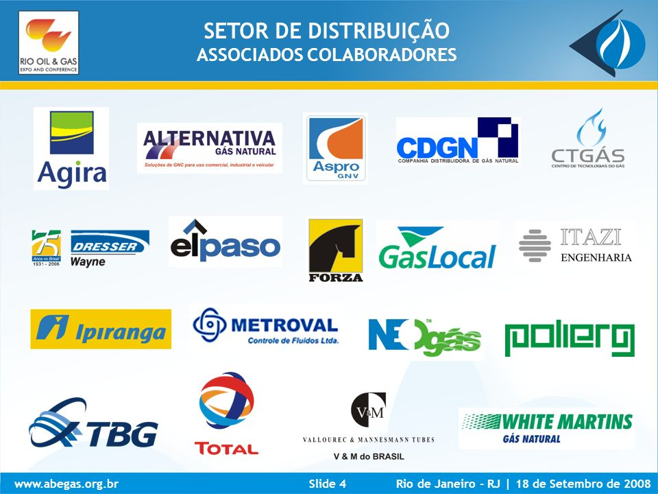 www.abegas.org.brRio de Janeiro - RJ | 18 de Setembro de 2008Slide 5 SETOR DE DISTRIBUIÇÃO ESTADOS INVESTIDORES