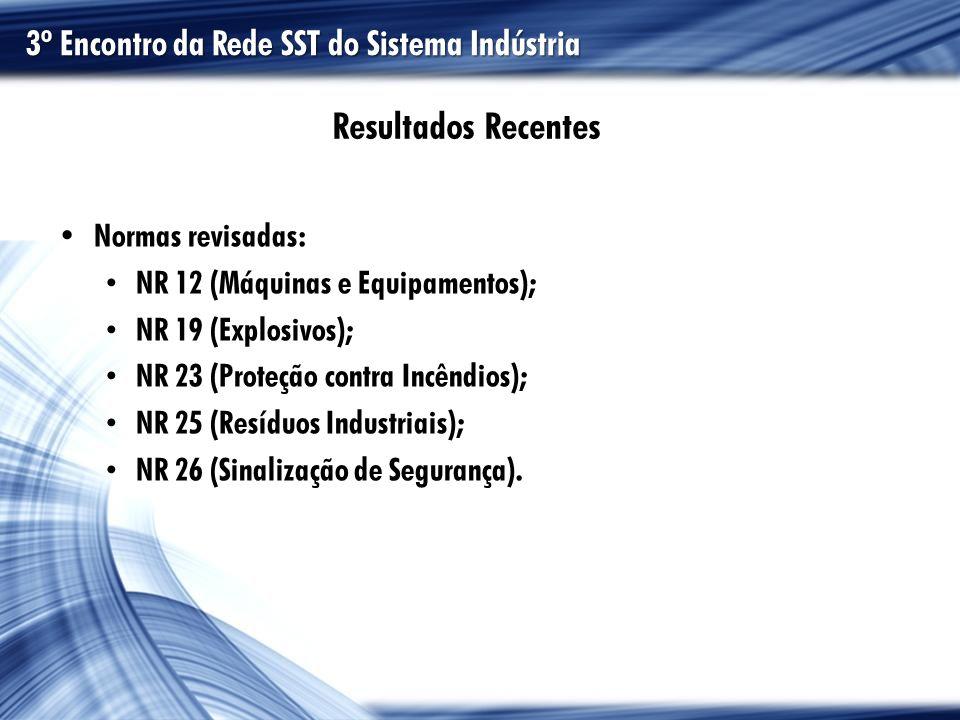 Normas revisadas: NR 12 (Máquinas e Equipamentos); NR 19 (Explosivos); NR 23 (Proteção contra Incêndios); NR 25 (Resíduos Industriais); NR 26 (Sinaliz